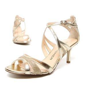 MARC FISHER Strappy Dress Heels Sandals Gold NEW